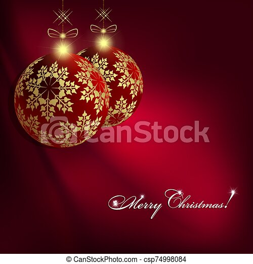 Christmas dark red design with balls with golden snowflakes on pendants - csp74998084