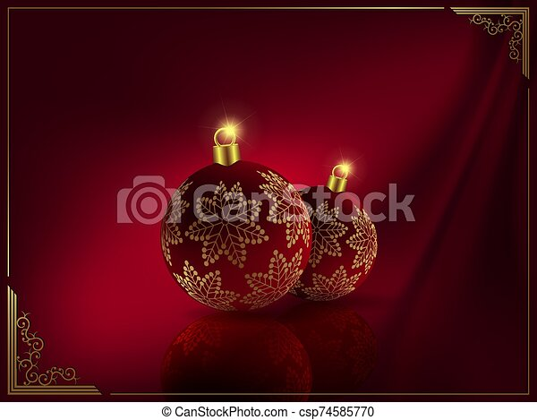Christmas dark red design with balls with golden snowflakes - csp74585770
