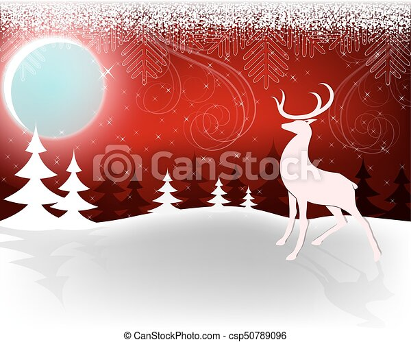 Christmas dark red design with moon and deer - csp50789096