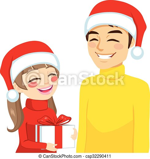 Christmas daughter dad with gift. Family illustration of daughter ...