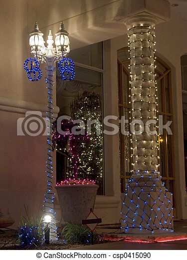 house column and 4 lantern lightpost decorated for christmas - Light Post Christmas Decorations