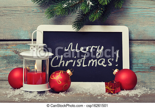 Christmas  decoration and framed blackboard - csp16261501