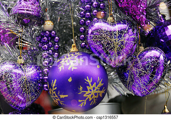 Christmas Decoration Blue and Silver Baubles - csp1316557