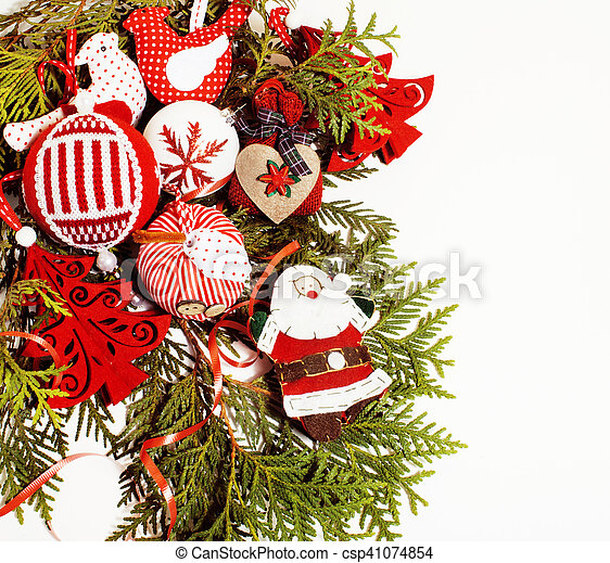 christmas decoration isolated , white background for post card g - csp41074854