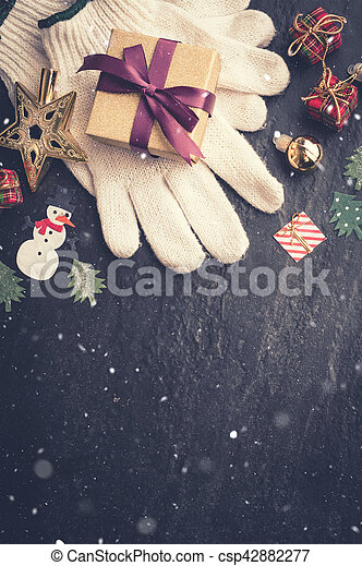 Dark Christmas.Christmas Decoration On Dark Stone Background