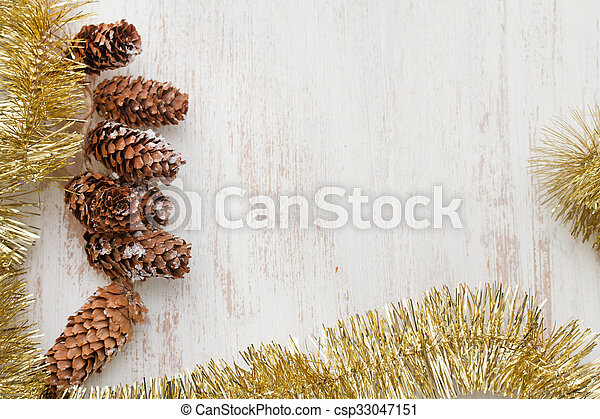 Christmas decoration on white wooden background - csp33047151