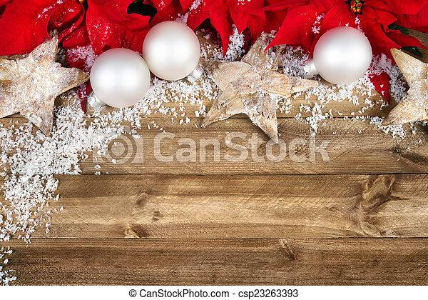 Christmas decoration on wood - csp23263393