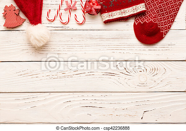 Christmas decoration on wooden background - csp42236888