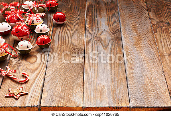 Christmas decoration on wooden background - csp41026765