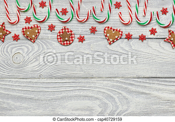 Christmas decoration on wooden background - csp40729159
