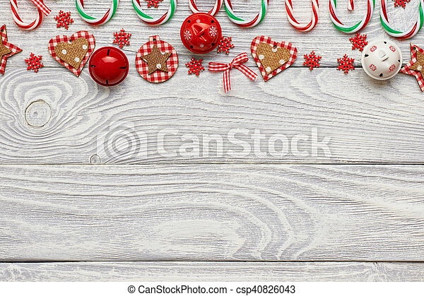 Christmas decoration on wooden background - csp40826043