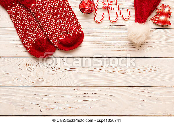 Christmas decoration on wooden background - csp41026741