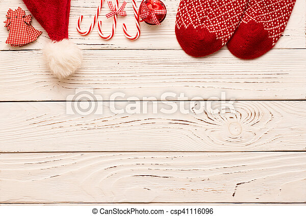 Christmas decoration on wooden background - csp41116096