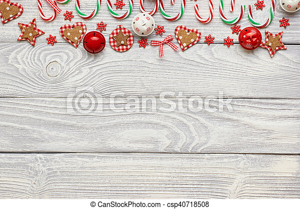 Christmas decoration on wooden background - csp40718508