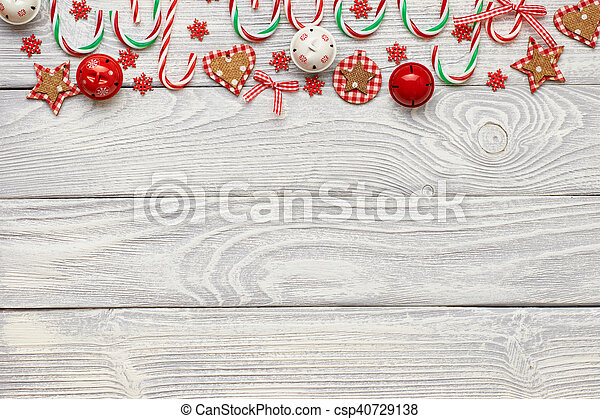 Christmas decoration on wooden background - csp40729138