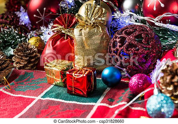 christmas decoration over dark background - csp31828660