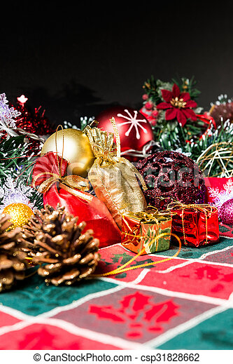 christmas decoration over dark background - csp31828662