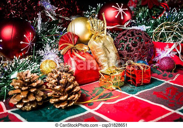 christmas decoration over dark background - csp31828651