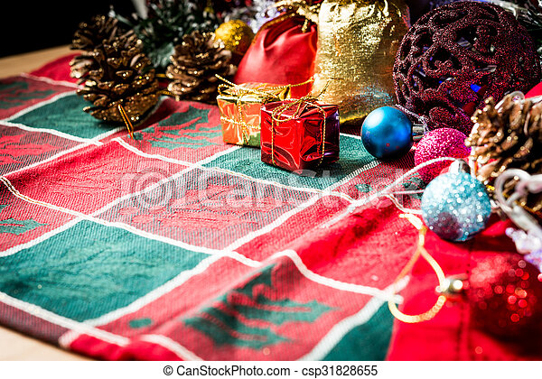 christmas decoration over dark background - csp31828655