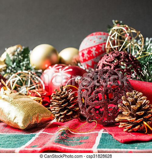 christmas decoration over dark background - csp31828628