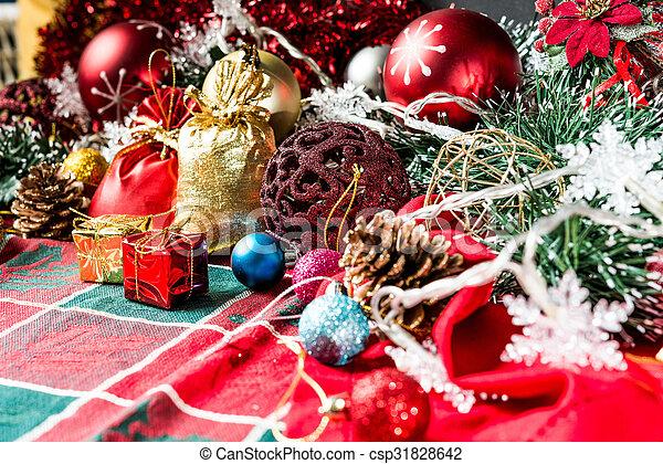 christmas decoration over dark background - csp31828642