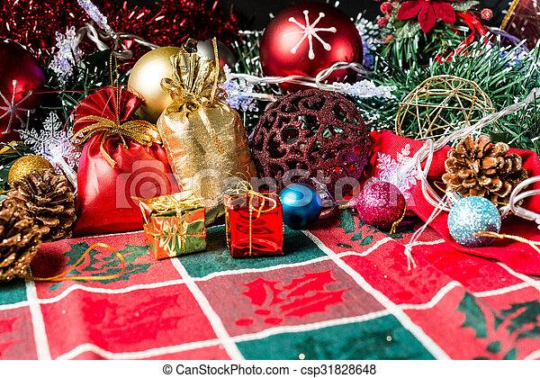 christmas decoration over dark background - csp31828648