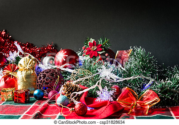 christmas decoration over dark background - csp31828634