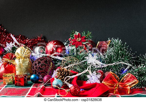 christmas decoration over dark background - csp31828638