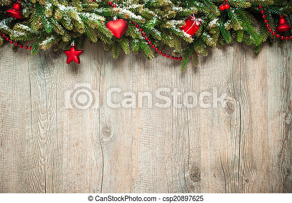 christmas decoration over wooden background - csp20897625