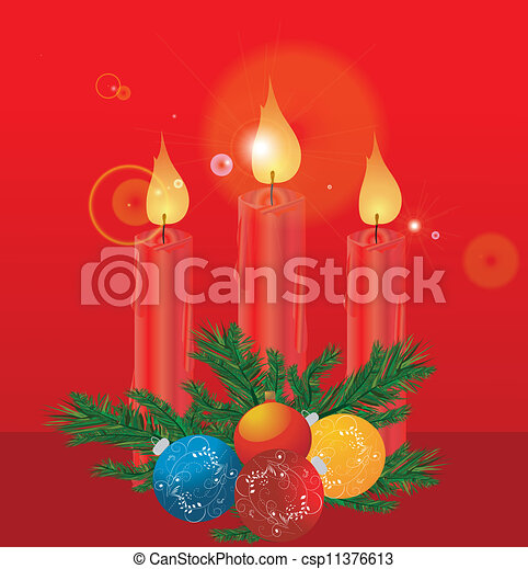 Christmas decoration with candles - csp11376613