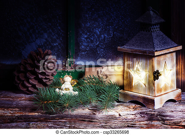 Christmas decoration with lantern in the window - csp33265698