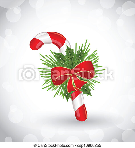 Christmas decoration with sweet cane, bow and pine - csp10986255