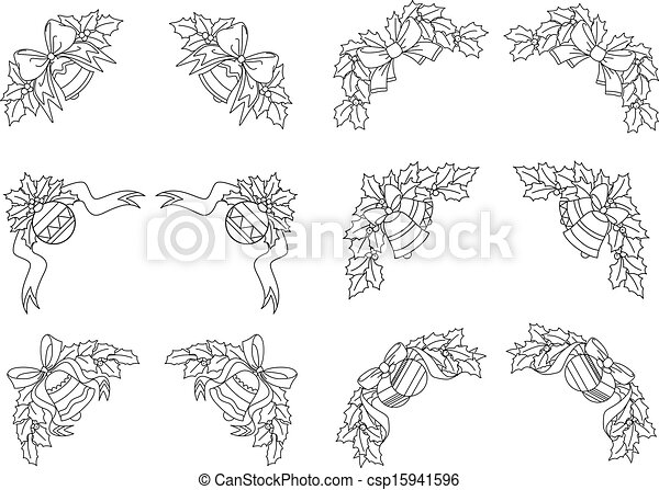 Drawings Of Christmas Decorations.Christmas Decorations And Corners