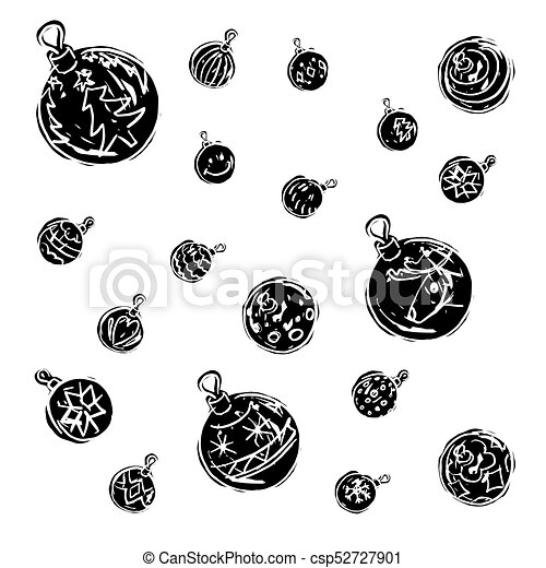 Christmas decorations black and white - csp52727901