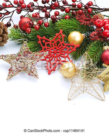 Christmas Decorations Border Isolated On White