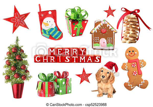 Christmas decorations collage - csp52523988