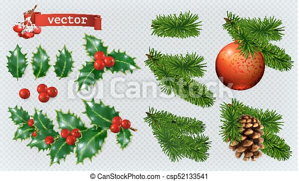 Christmas Decorations Holly Spruce Red Berries Christmas Bauble