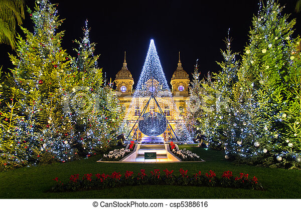 Christmas decorations in monaco, montecarlo,france. Christmas tree ...