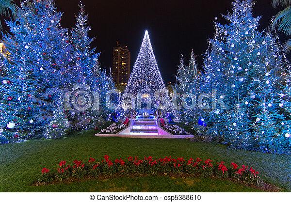Christmas decorations in Monaco, Montecarlo,France - csp5388610 - Christmas Decorations In Monaco, Montecarlo,france. Christmas Tree