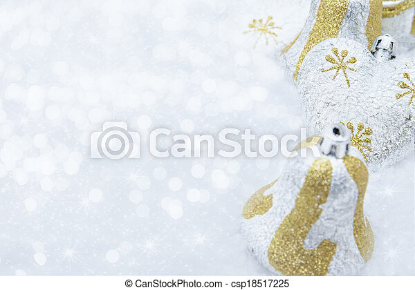 Christmas decorations on a background of brilliant snow - csp18517225