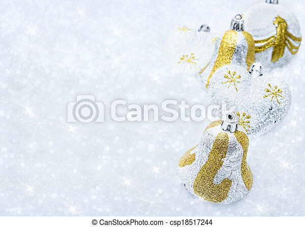 Christmas decorations on a background of brilliant snow - csp18517244