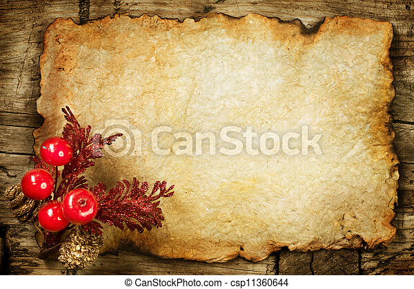 Christmas Decorations On The Old Paper With Copyspace
