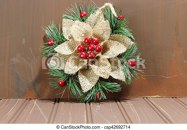 Christmas decorations on wood - csp42692714