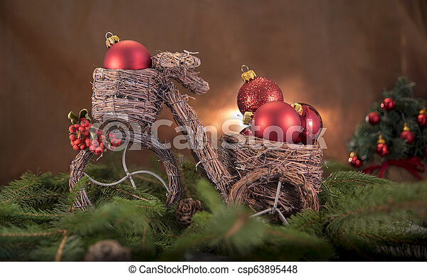 Christmas decorations with bicycle - csp63895448