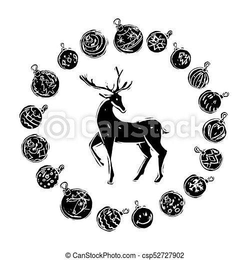 Christmas decorations with reindeer black and white - csp52727902