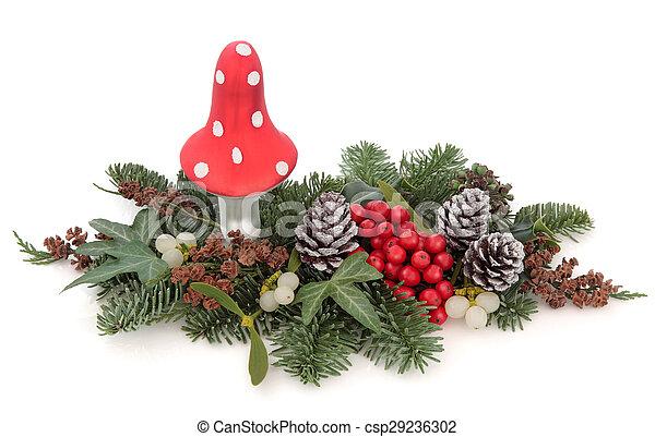 Christmas Decorative Display - csp29236302 - Christmas Decorative Display. Christmas Decoration With Fly Agaric