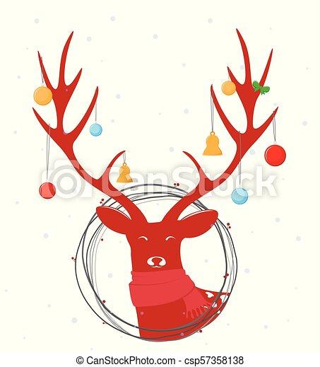 Christmas deer background - csp57358138
