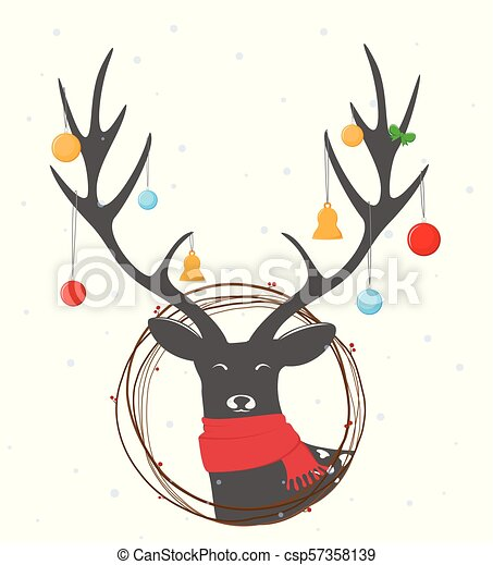 Christmas deer background - csp57358139