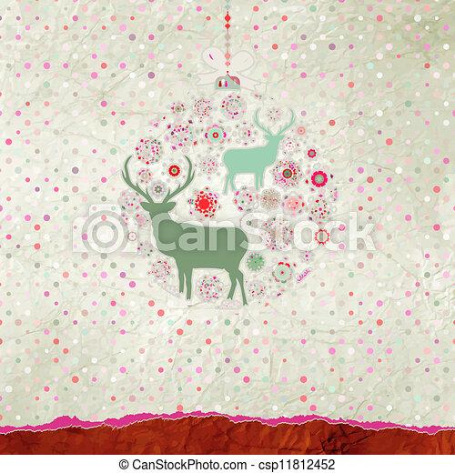 Christmas deer card. EPS 8 - csp11812452