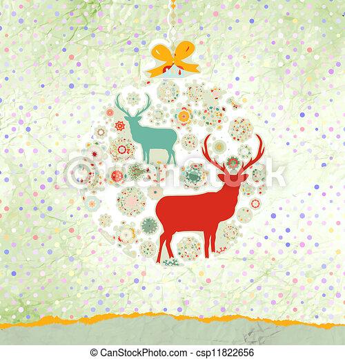 Christmas deer card. EPS 8 - csp11822656